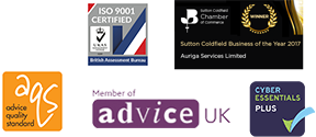 ISO 9001, Sutton Coldfield Business of the Year, Advice Quality Standard, Member of Advice UK, Cyber Essentials Plus